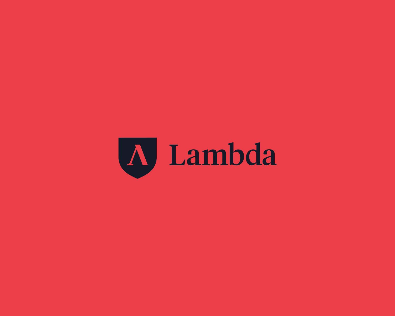 Lambda School logo on red background