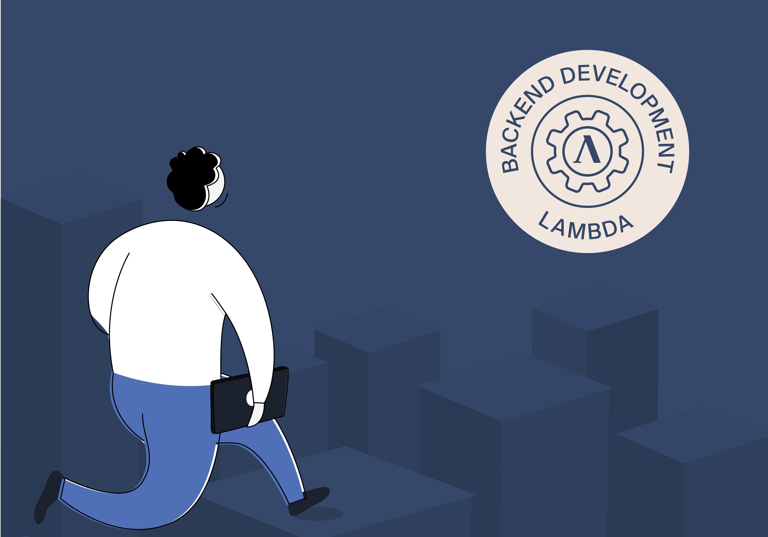 cartoon man on blue background and backend lambda shieldu