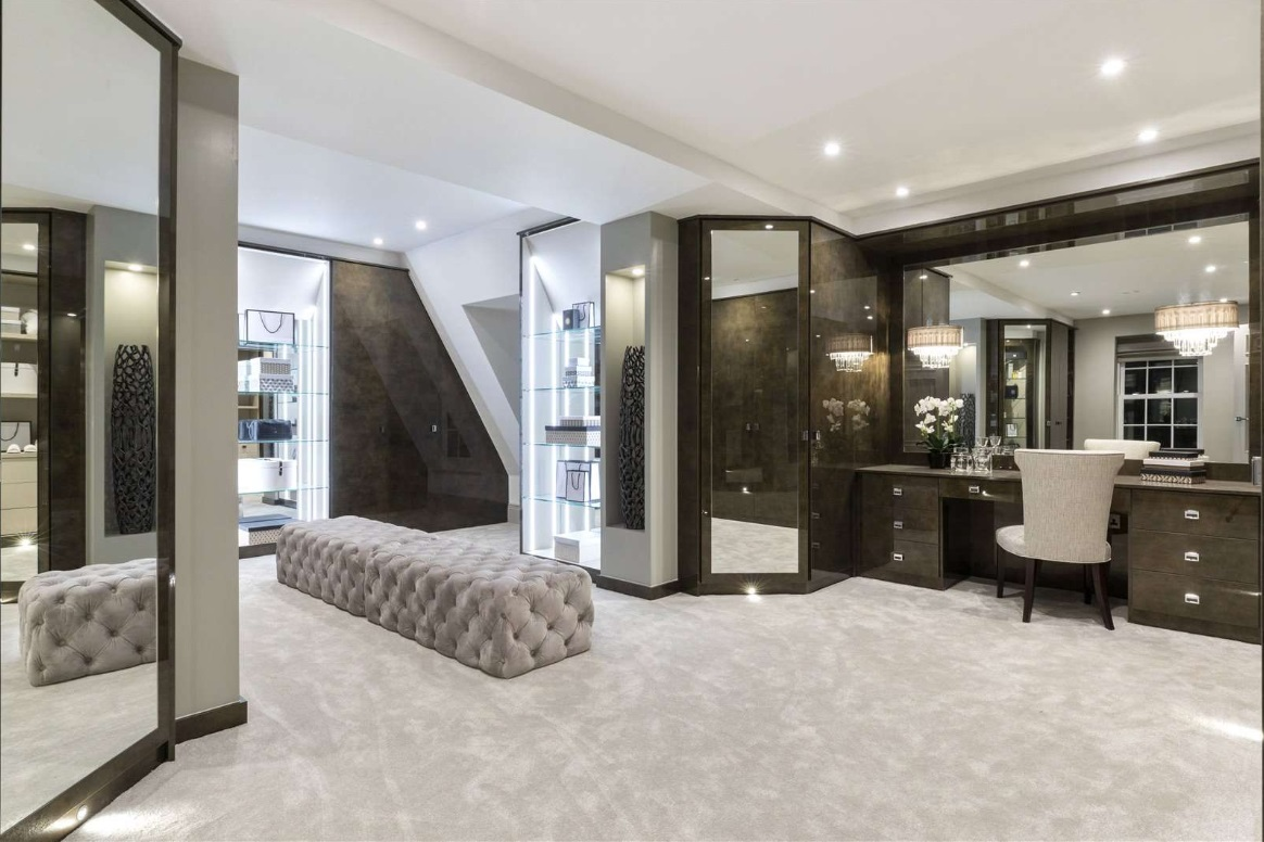 luxurious walk in dressing room in mansion