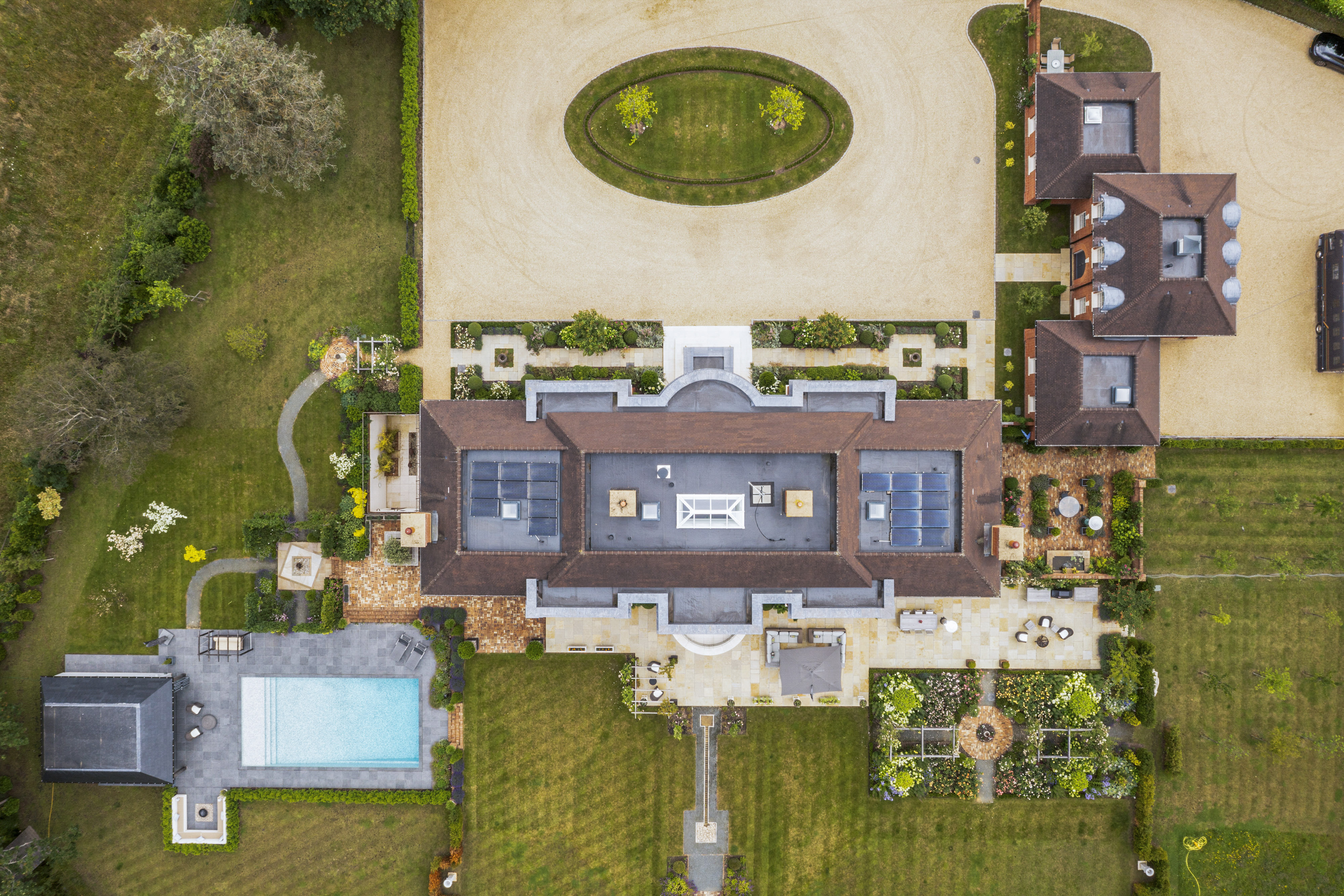 an aerial view of a mansion