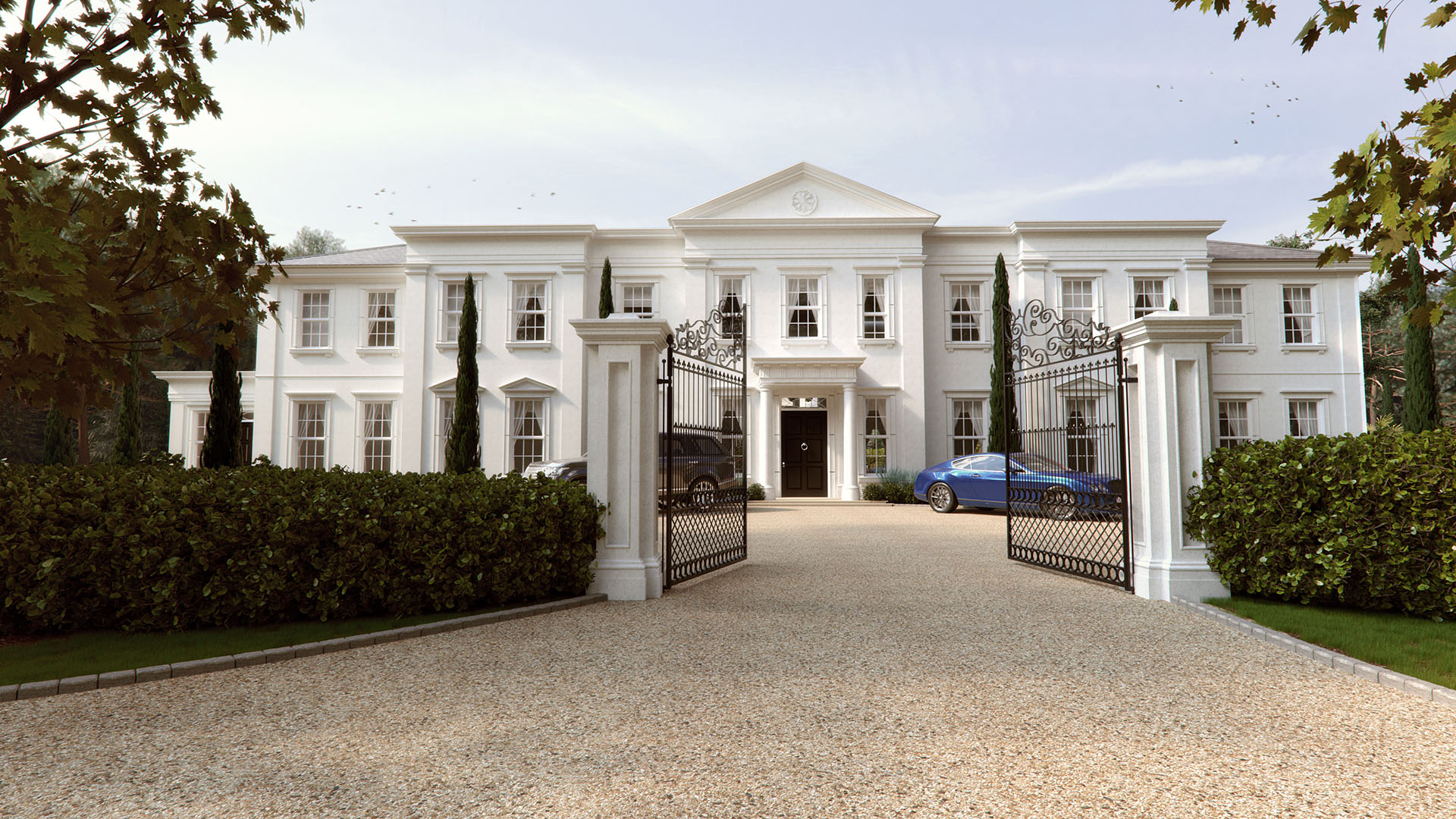 A grand Palladian mansion with white render