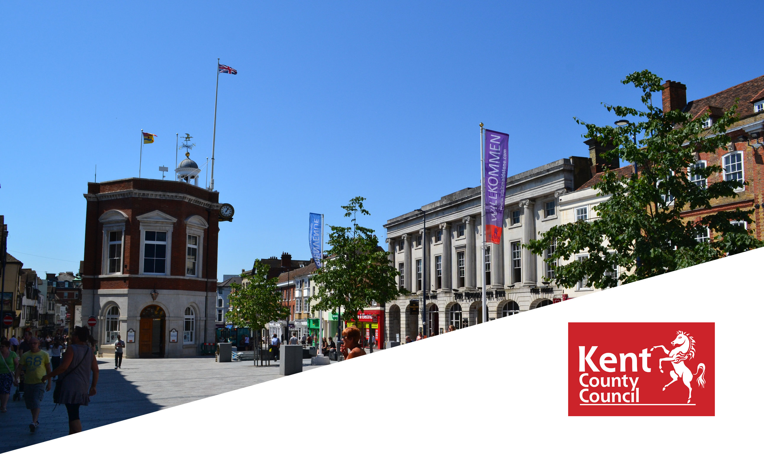 Street view showing buildings in Kent on a sunny day