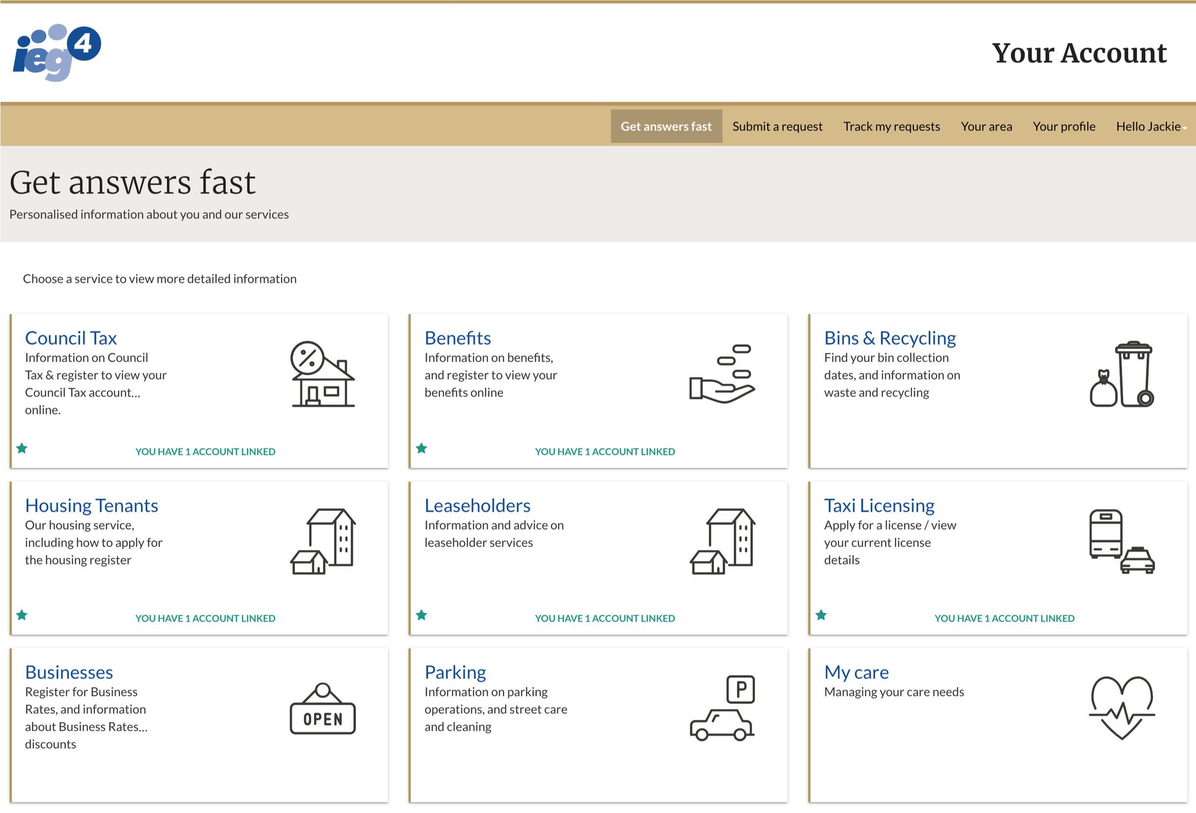 Screen shot of IEG4 Citizen Engagement Platform OneVu