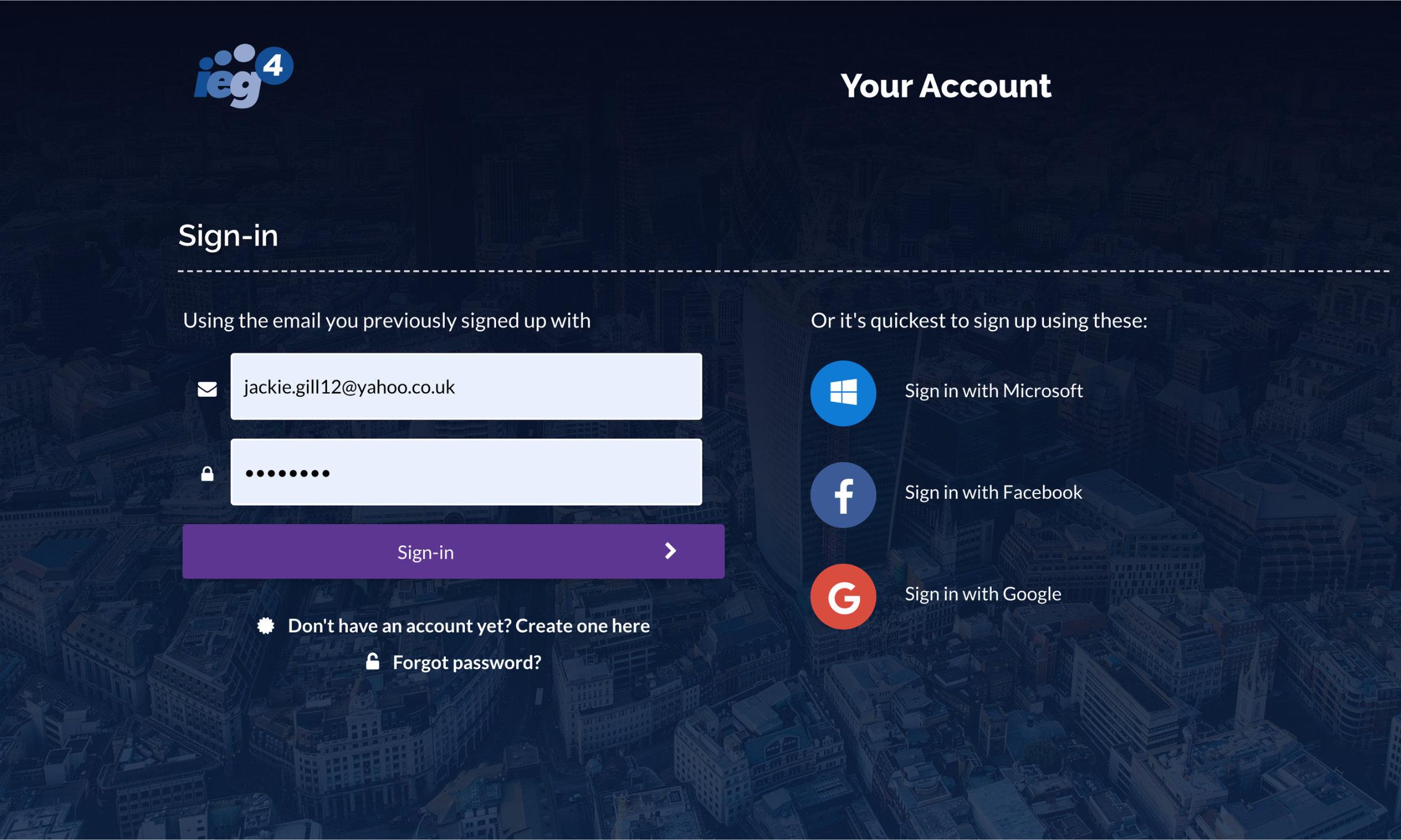 Desktop device screen shot showing IEG4 OneVu Citizen Engagement Platform