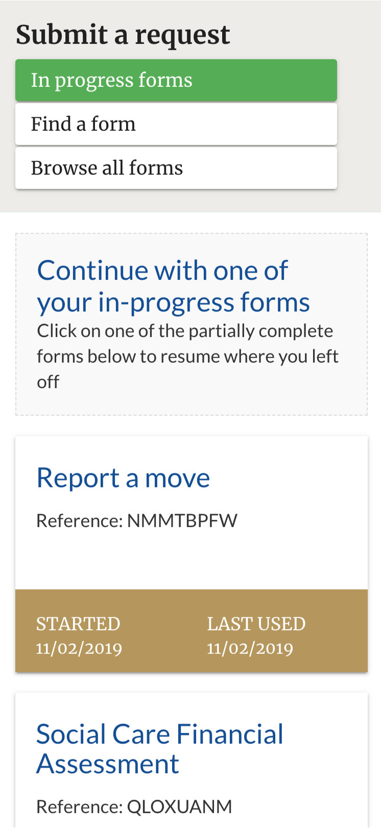 Mobile device screen shot showing IEG4 OneVu Citizen Engagement Platform