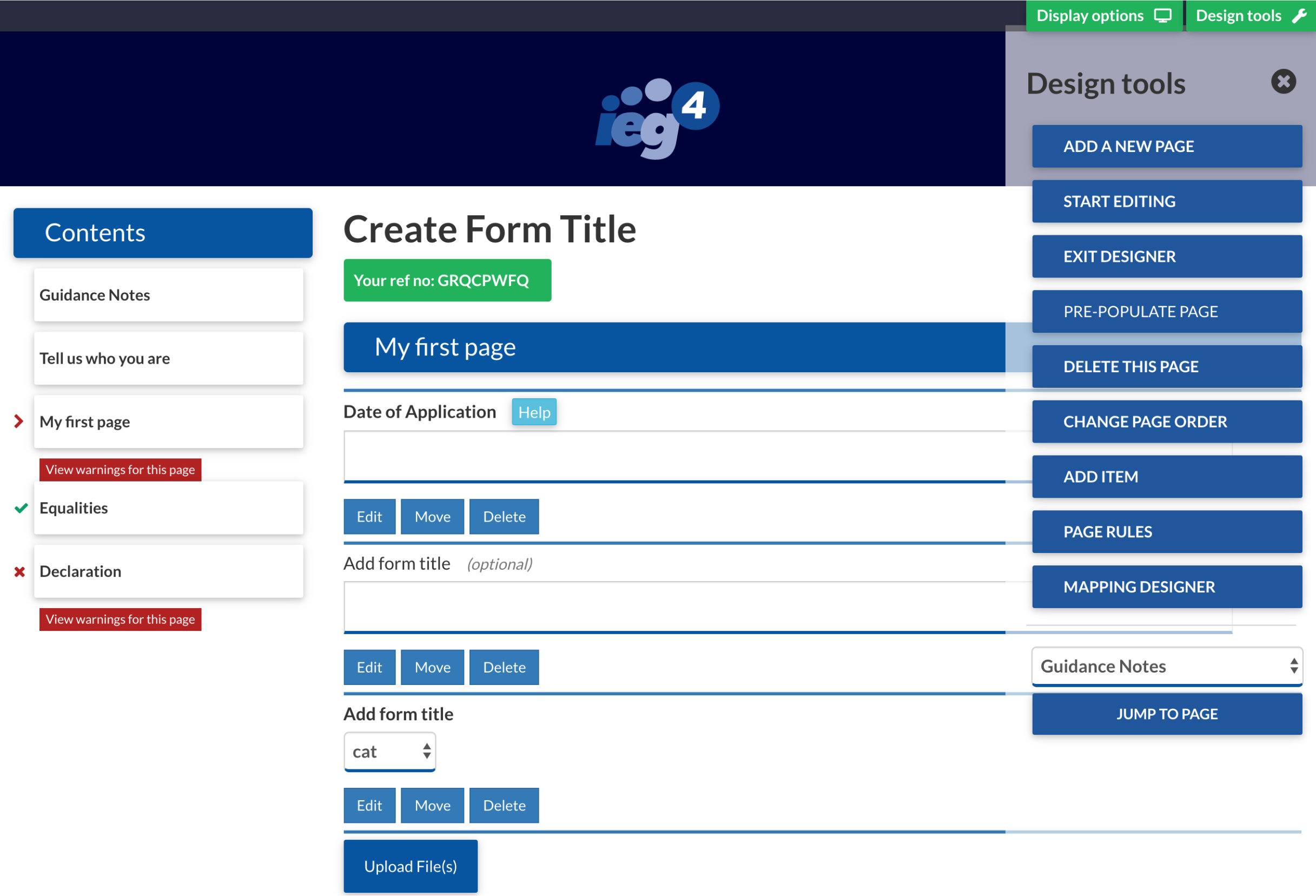 Screen shot from IEG4 eDesigner no code online forms building solution