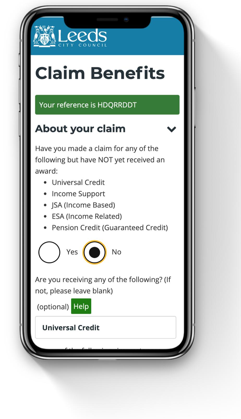 Benefits claim form