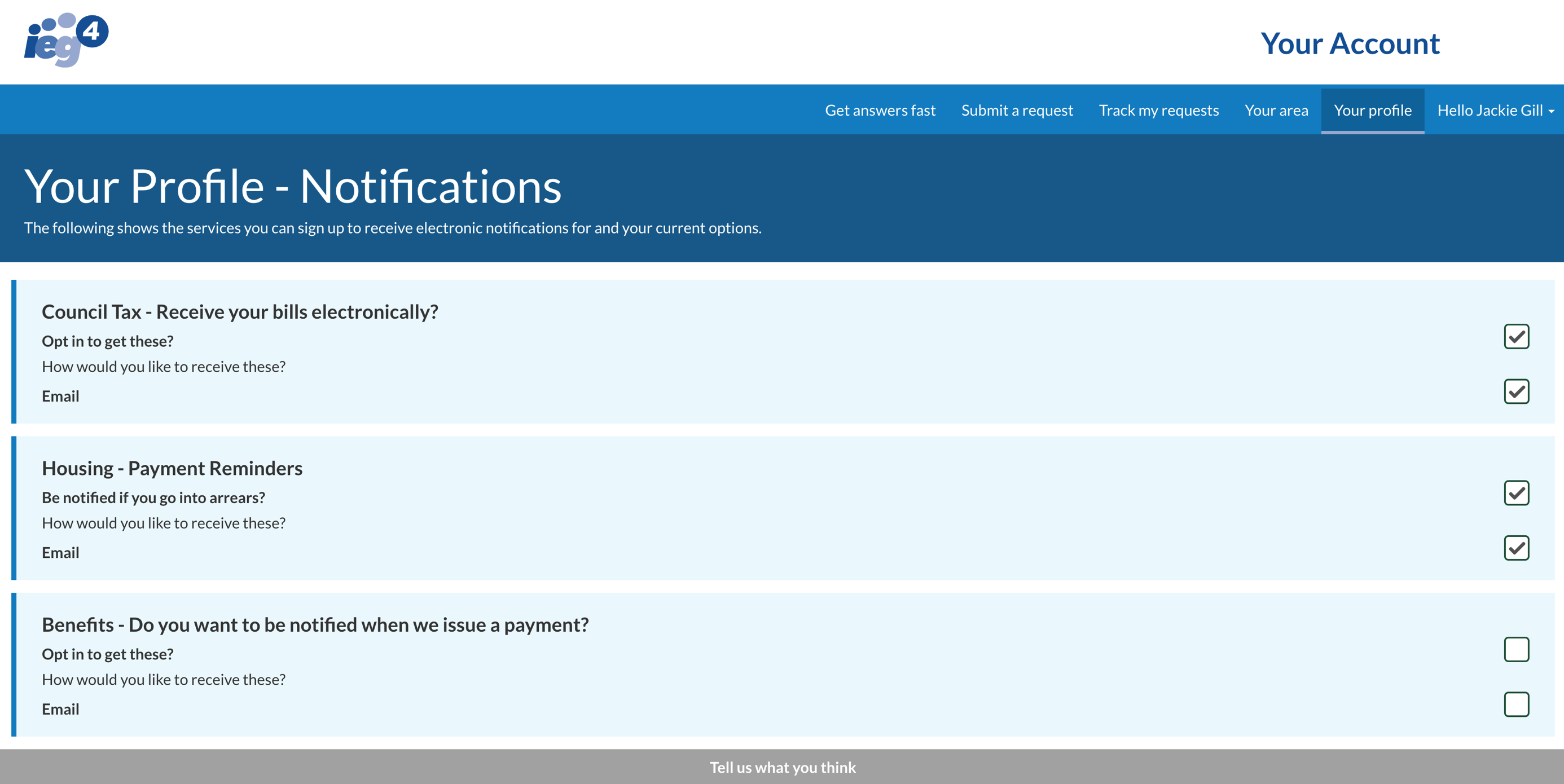 IEG4's OneVu showing managing a citizen profile and notifications