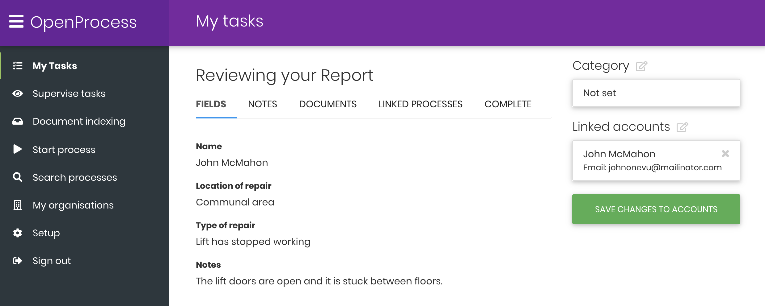 IEG4's Open process showing tasks summary