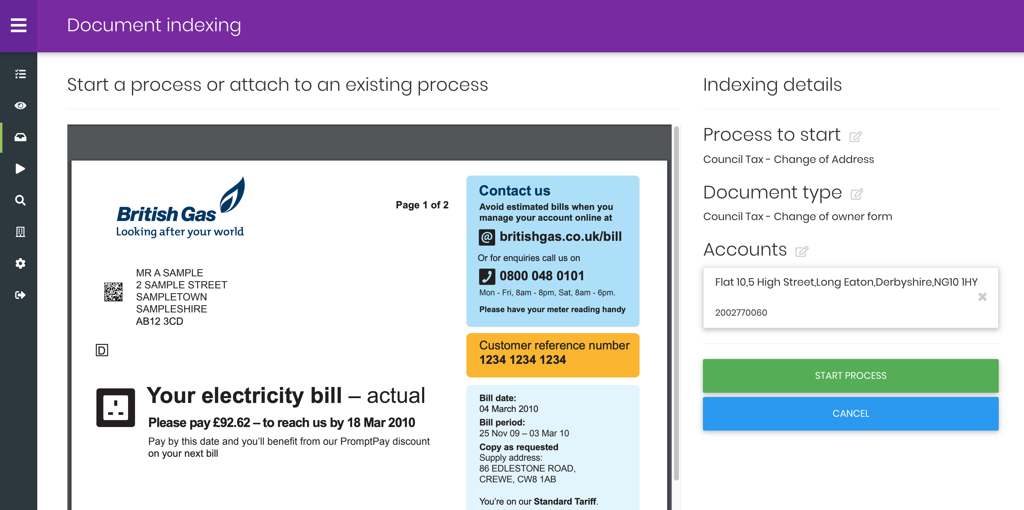 IEG4 Open process showing document indexing