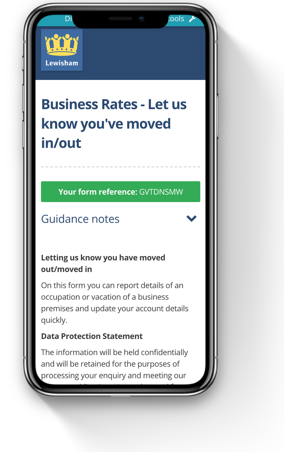 example of business rates form from IEG4