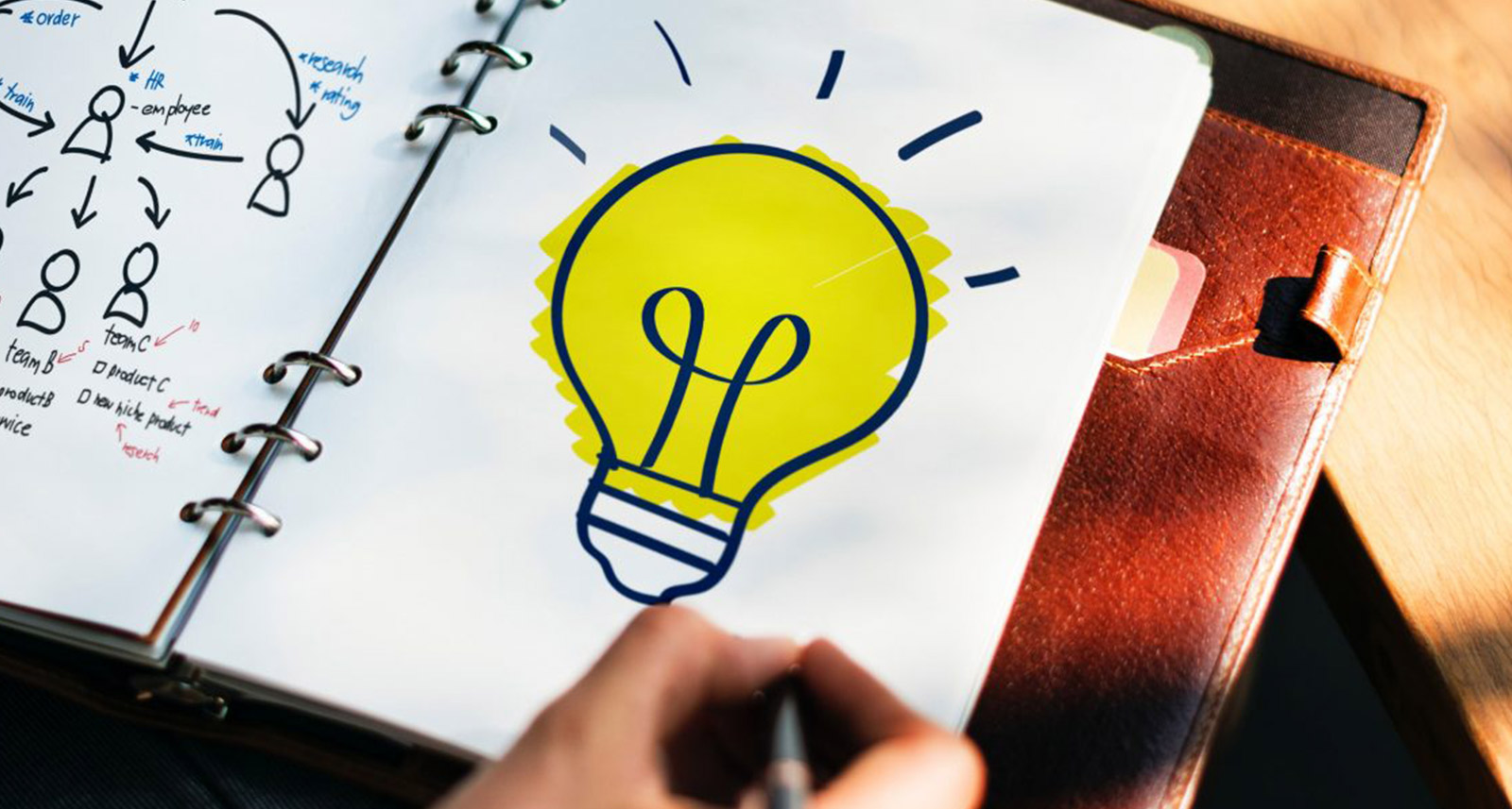 light bulb picture within a notepad