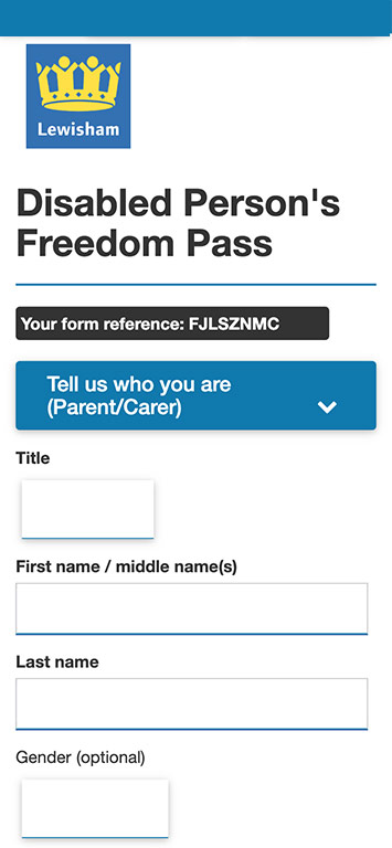 Lewishams Freedom pass form