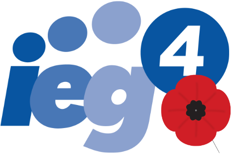 IEG4 Logo with a poppy to commemorate Remembrance Day