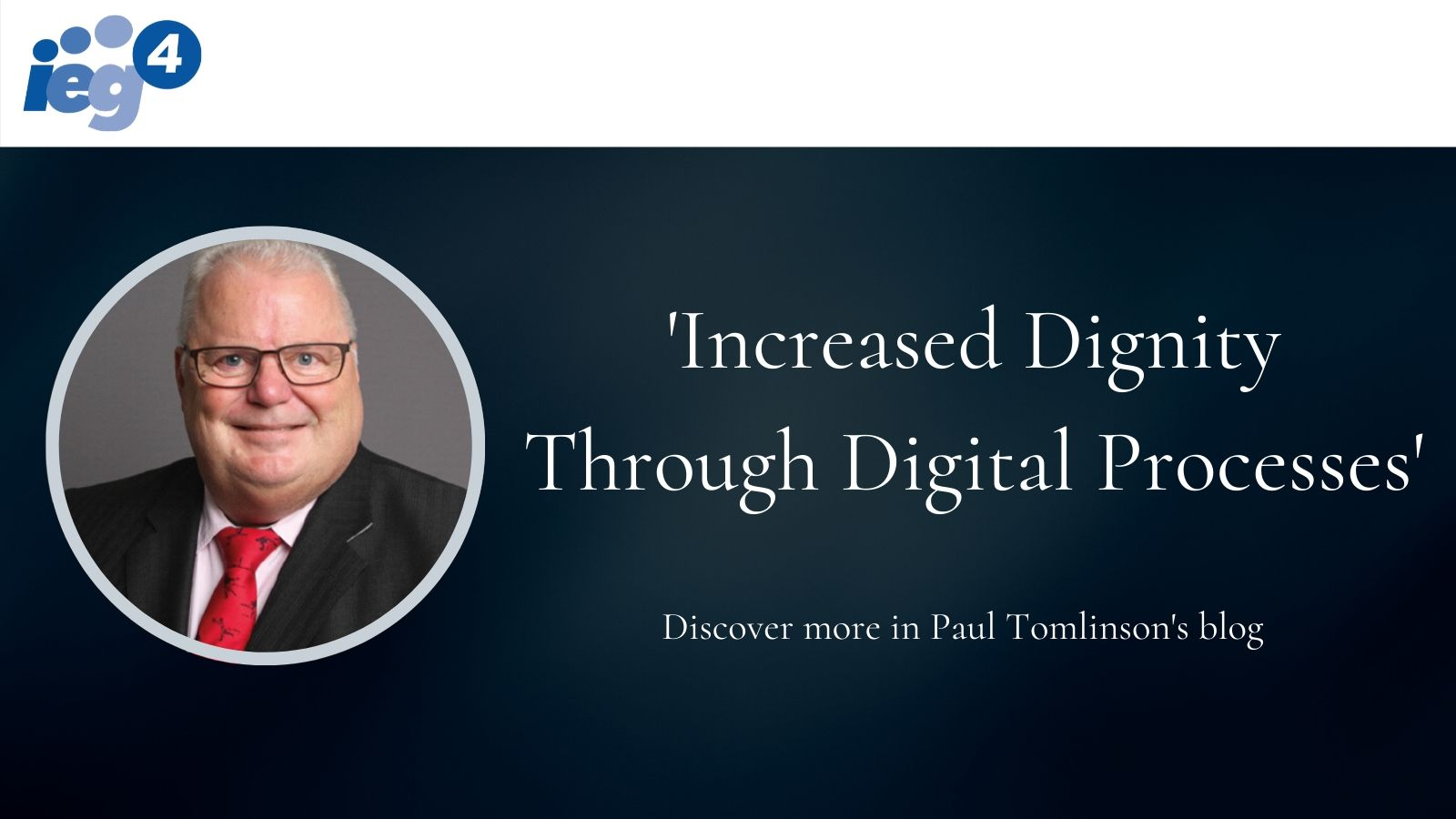 Visual showing IEG4 logo and Paul Tomlinson and Blog Title