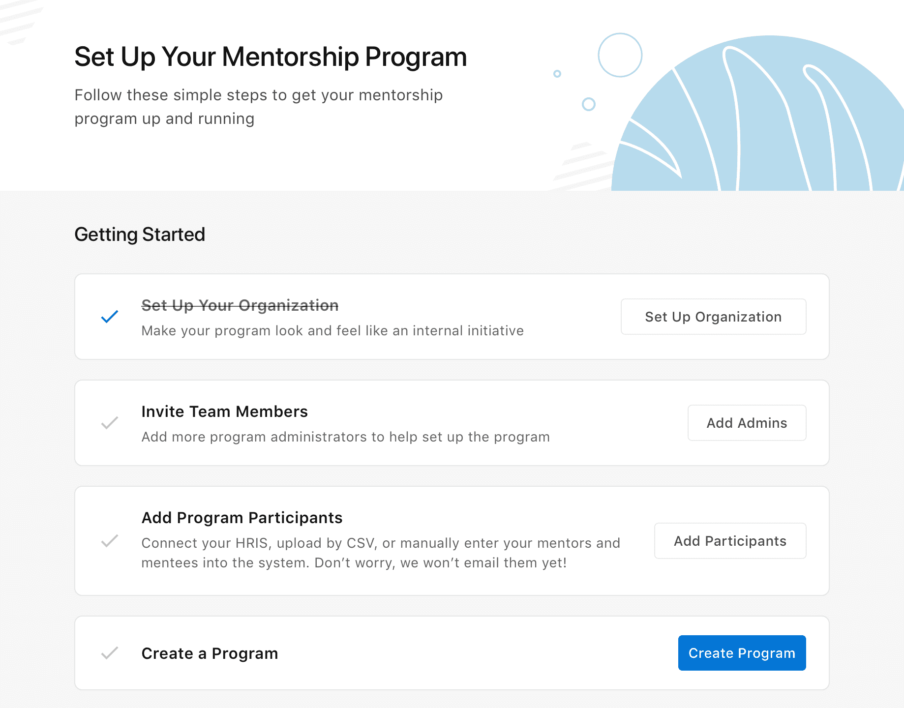 mentoring software set up