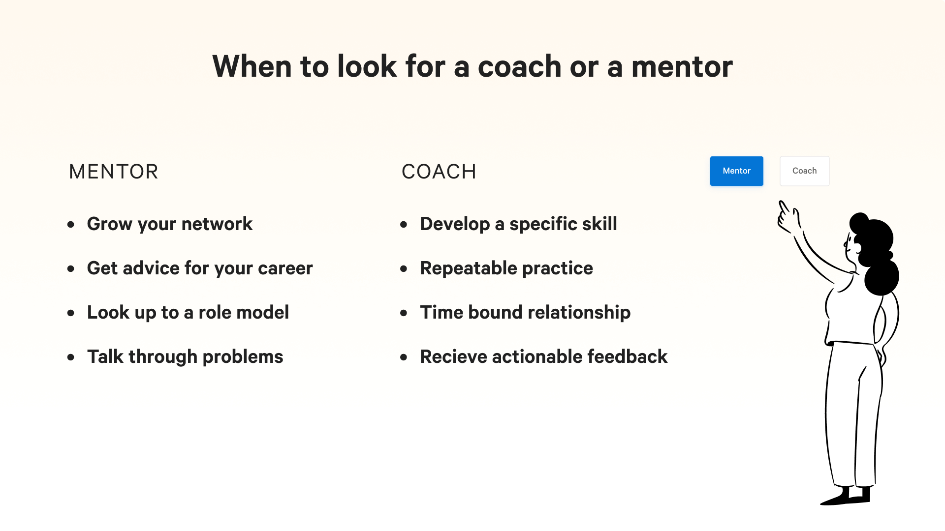 coach s mentor: when to look for each.