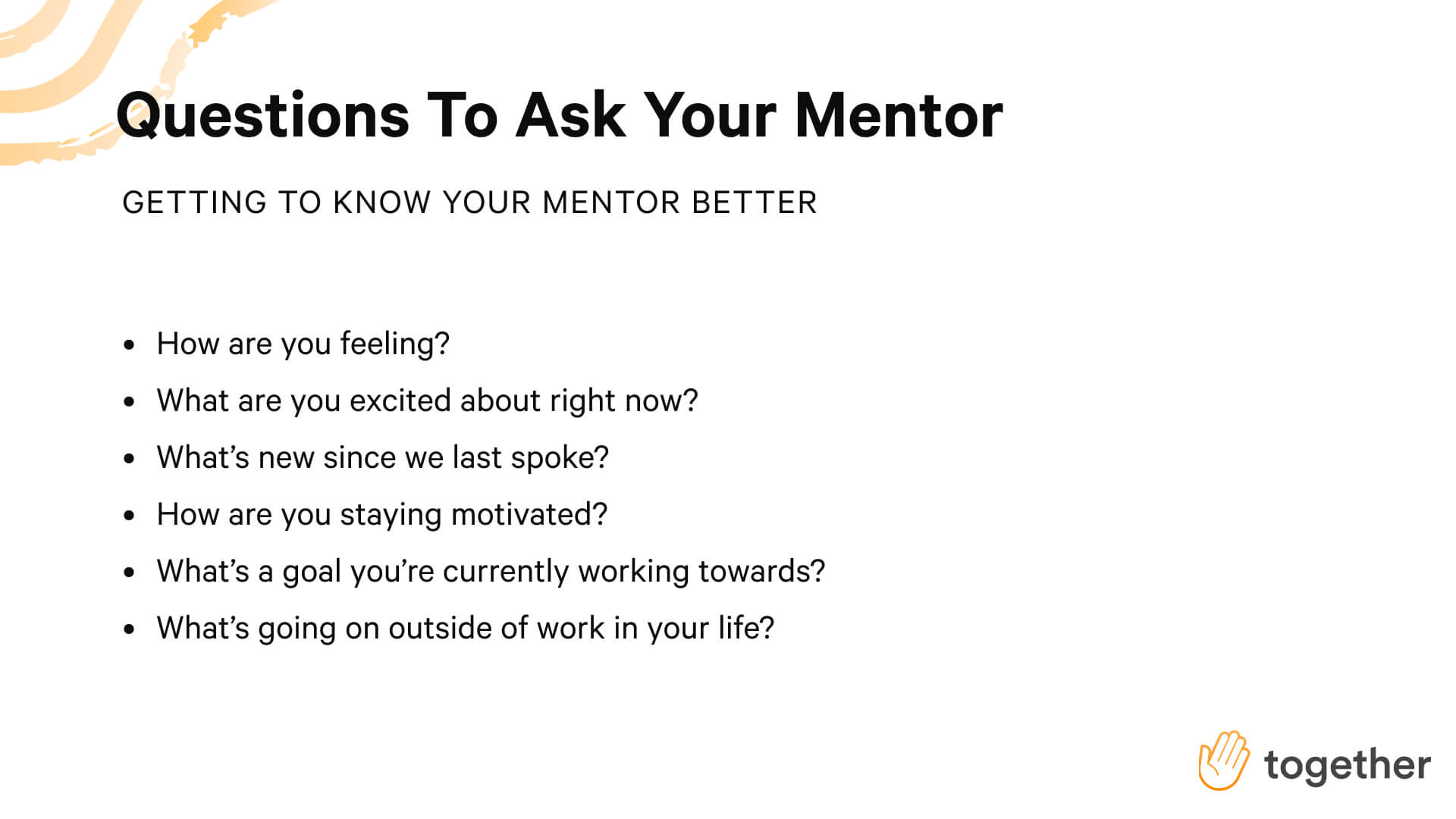 Questions to get to know your mentor better