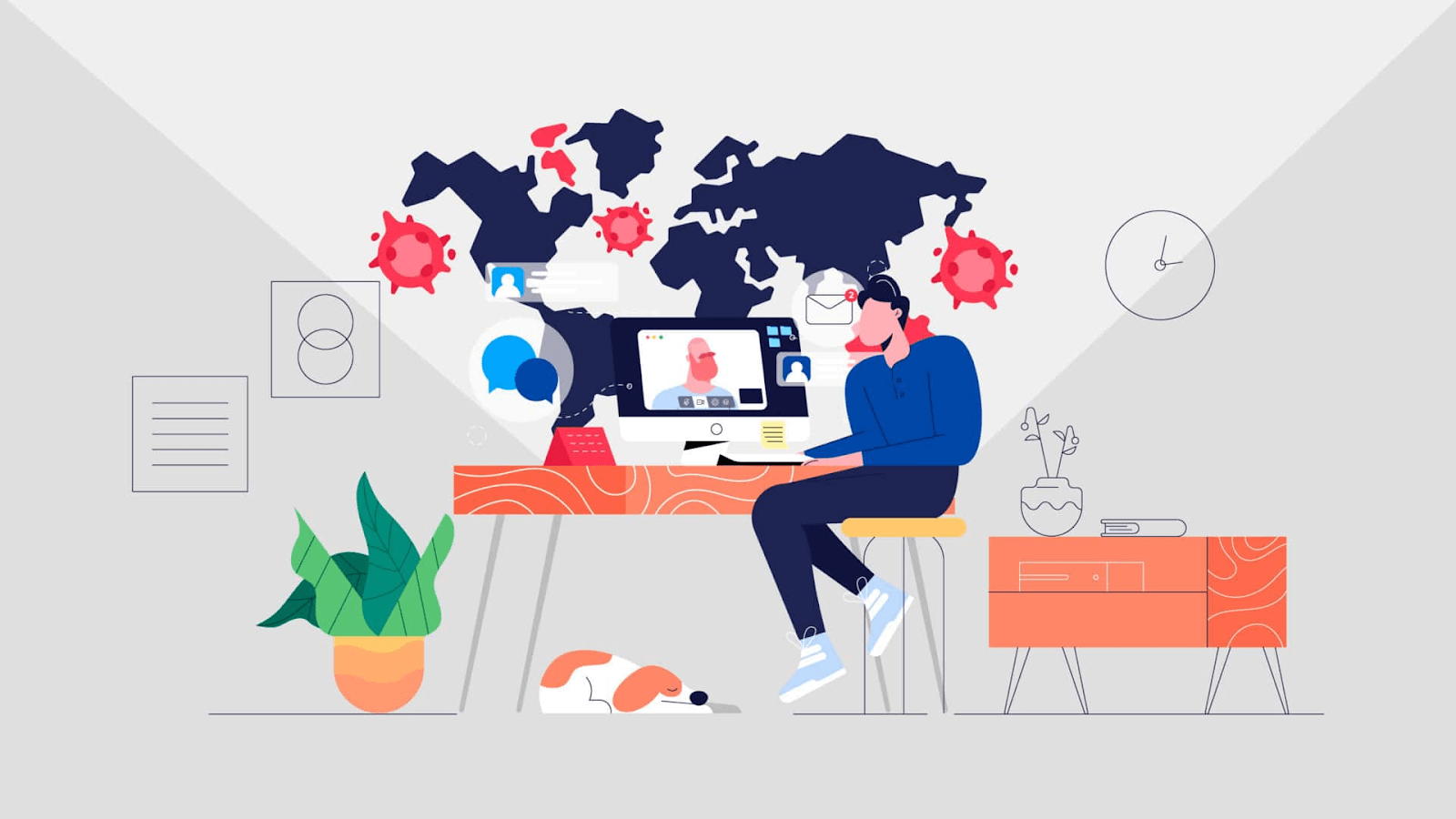 Graphic showing that a remote worker can be anywhere to do their work.