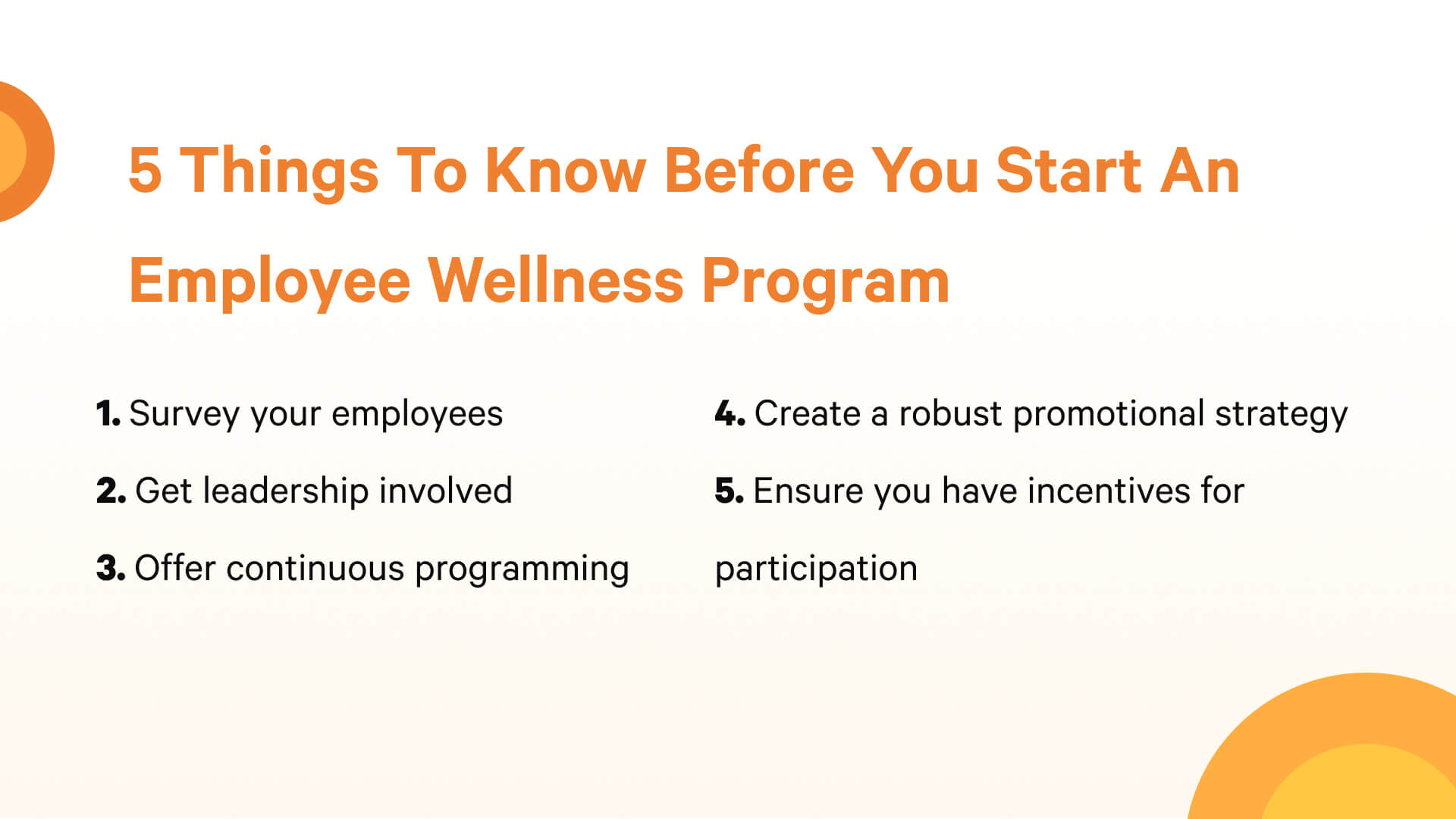 5 things to know before startin an employee wellness program.