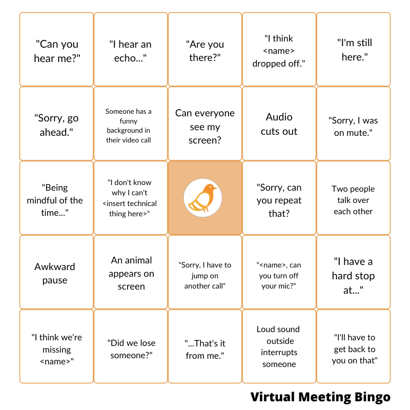 Example of virtual meeting bingo from Pigeonhole live
