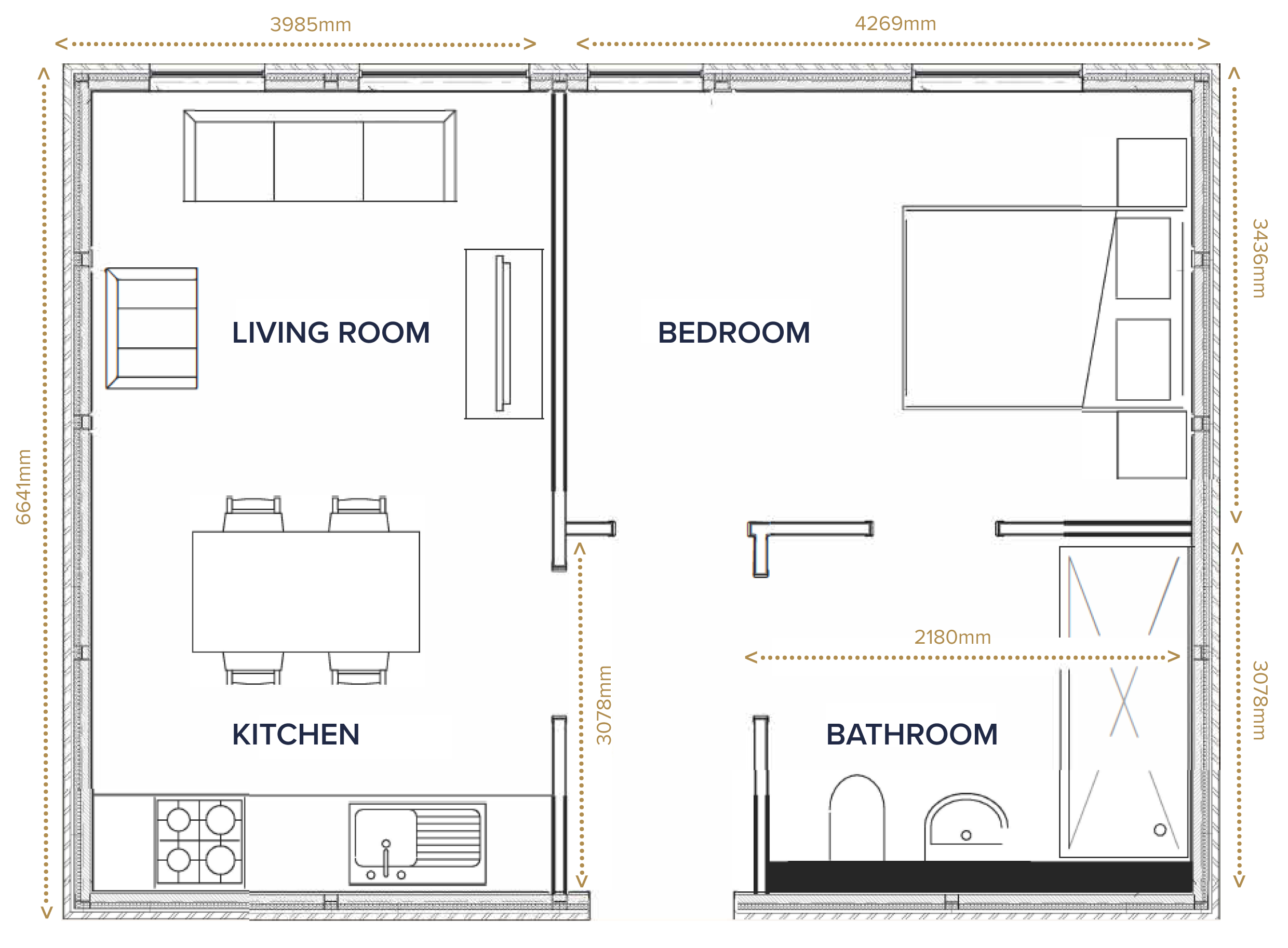 Floor plan of one bed apartment