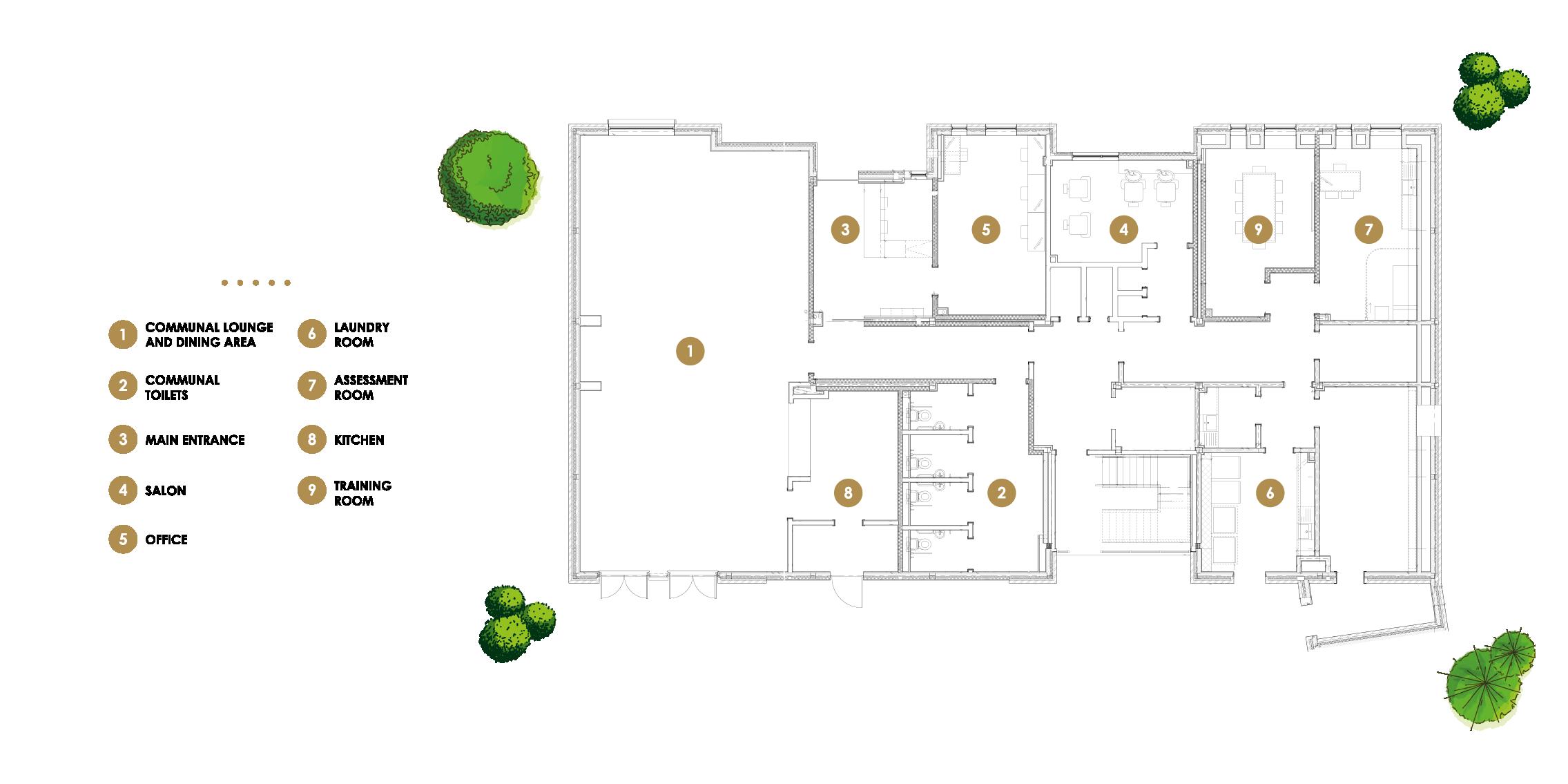 Floor plan of communal areas