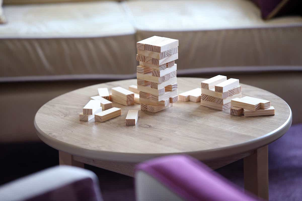 A jenga board game on a table at Balmoral Place