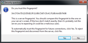 TLS/SSL Fingerprint Dialog