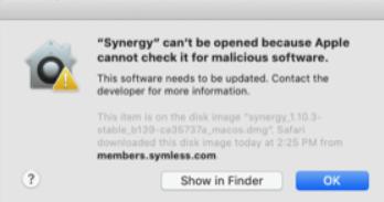 synergy on mac catalina macOS 10.15