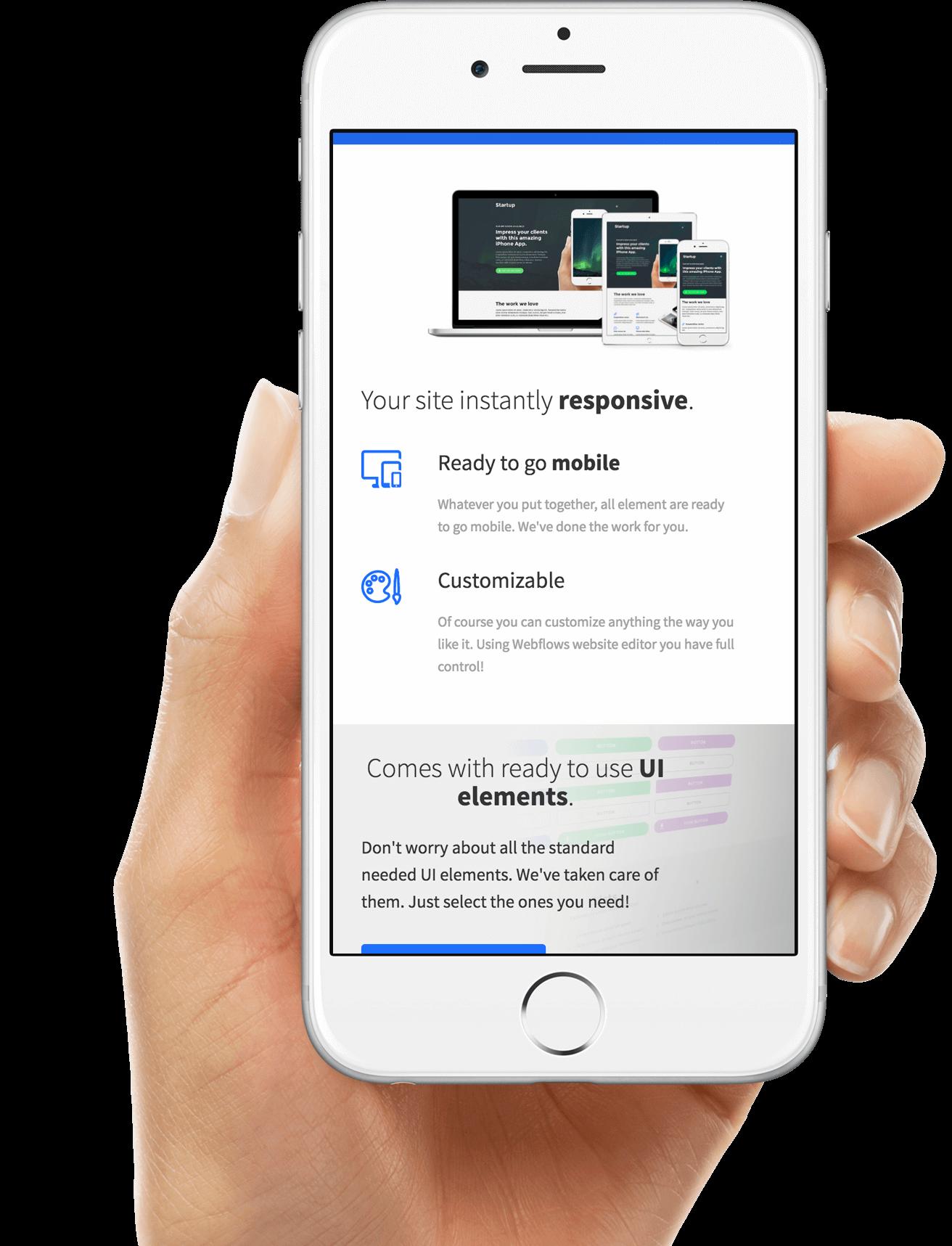A mobile designed website