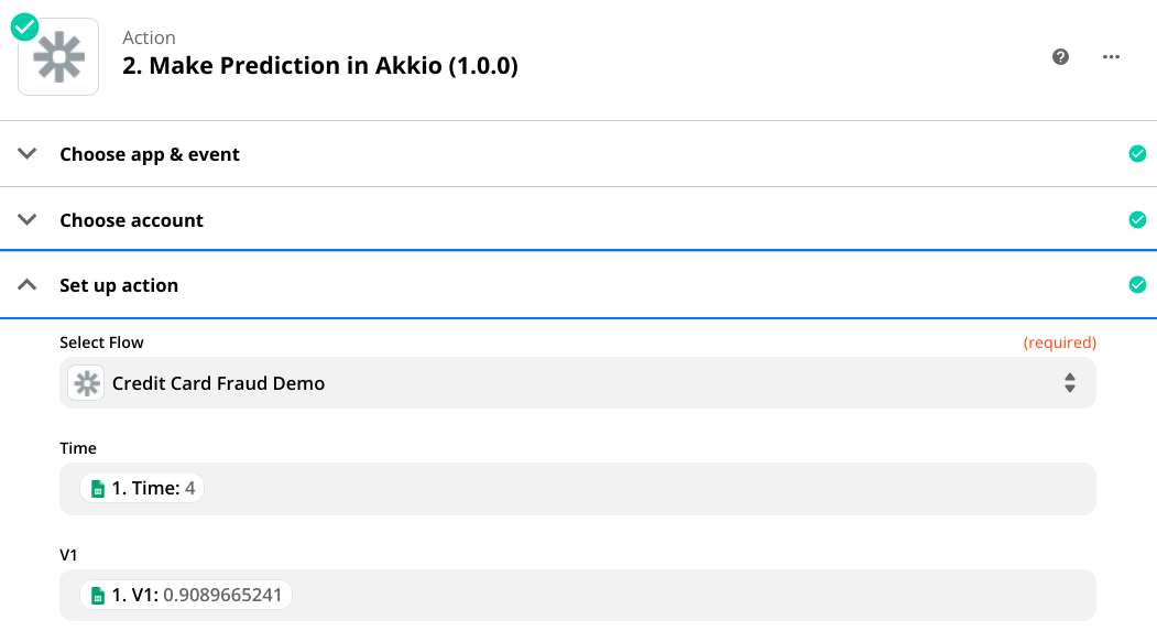 """A screenshot of a Zapier action titled """"Make Prediction in Akkio,� with the credit card fraud demo flow selected."""