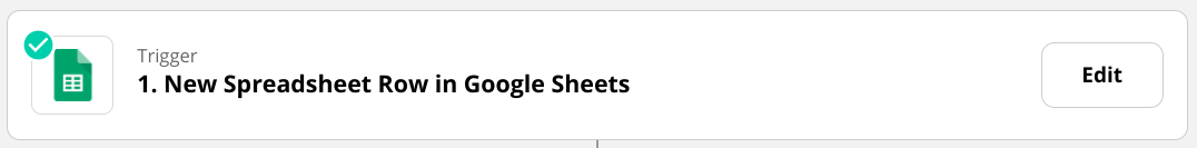 """Screenshot of a Trigger in Zapier that says """"New Spreadsheet Row in Google Sheets.�"""
