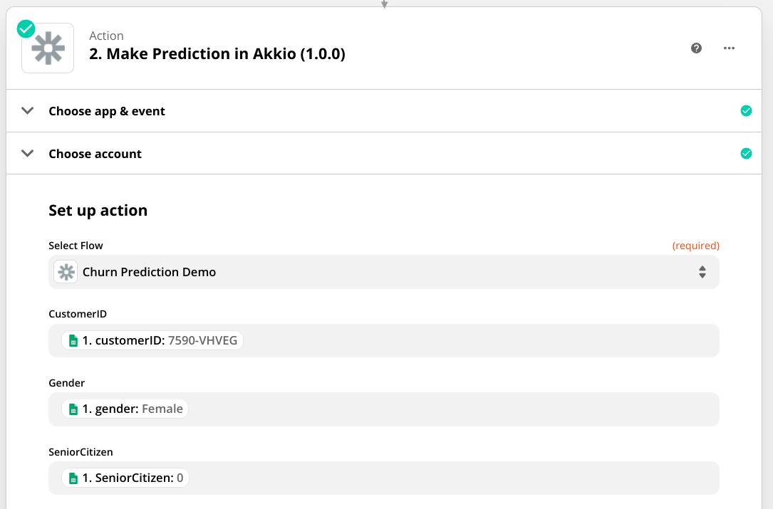 "Screenshot of an Action in Zapier that says ""Make Prediction in Akkio.�"
