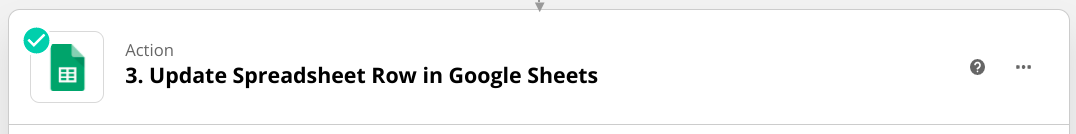 """Screenshot of an Action in Zapier that says """"Update Spreadsheet Row in Google Sheets.�"""