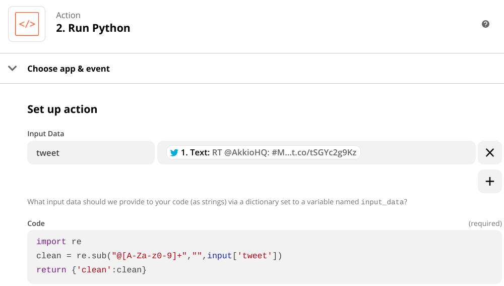 """A screenshot of a Zapier Action named """"Run Python� that cleans a tweet."""