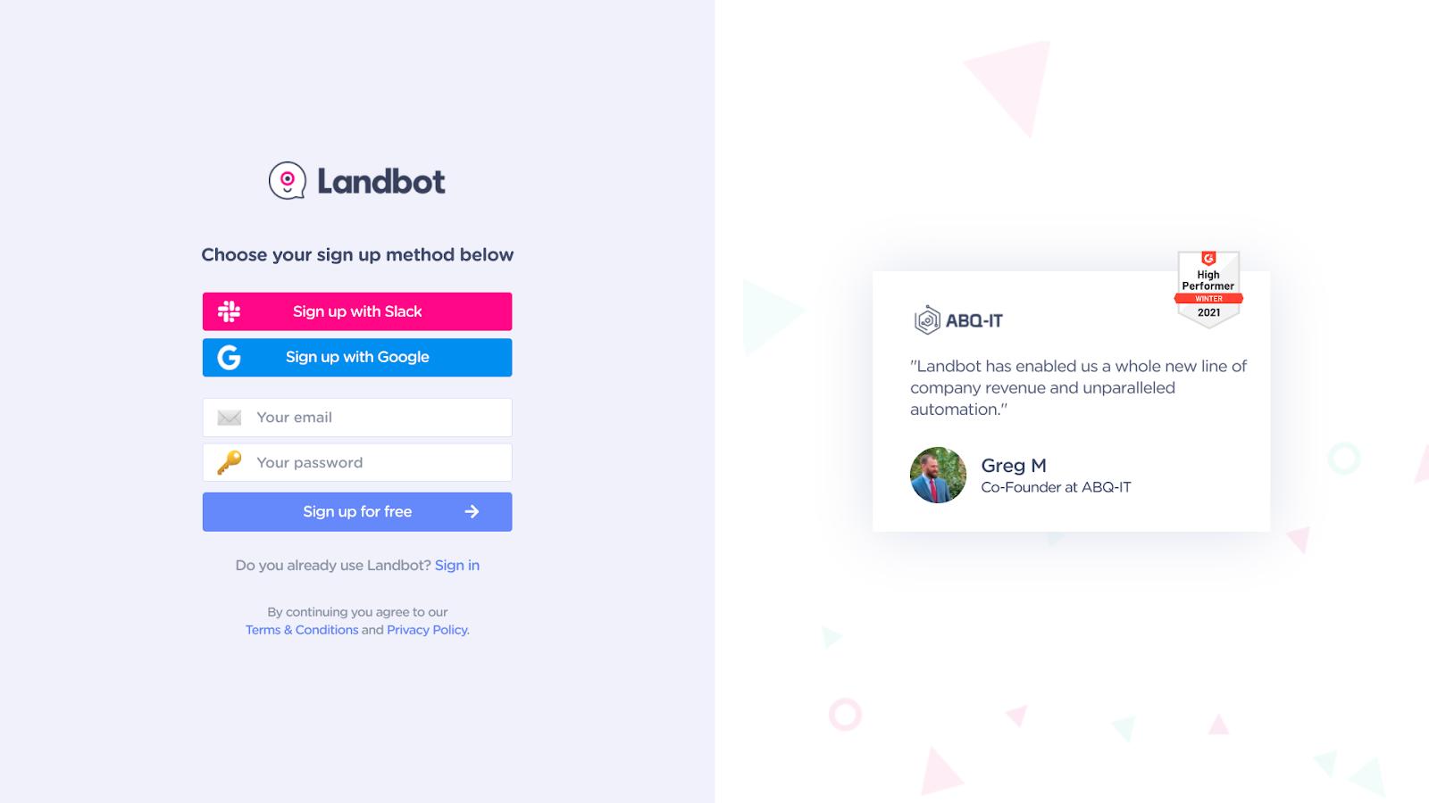 A screenshot of Landbot's sign-up page.
