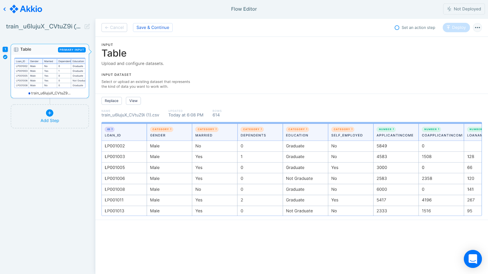 """A screenshot of Akkio's """"Flow Editor�, where the user has added a tabular dataset of credit clients."""