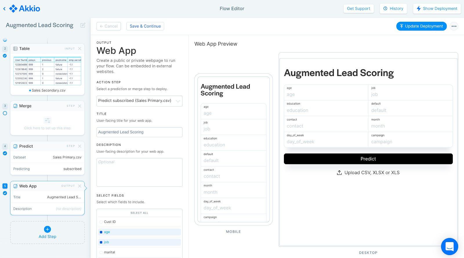 """A screenshot of the Akkio demo flow titled """"Augmented Lead Scoring,� showing the settings to deploy a web app."""