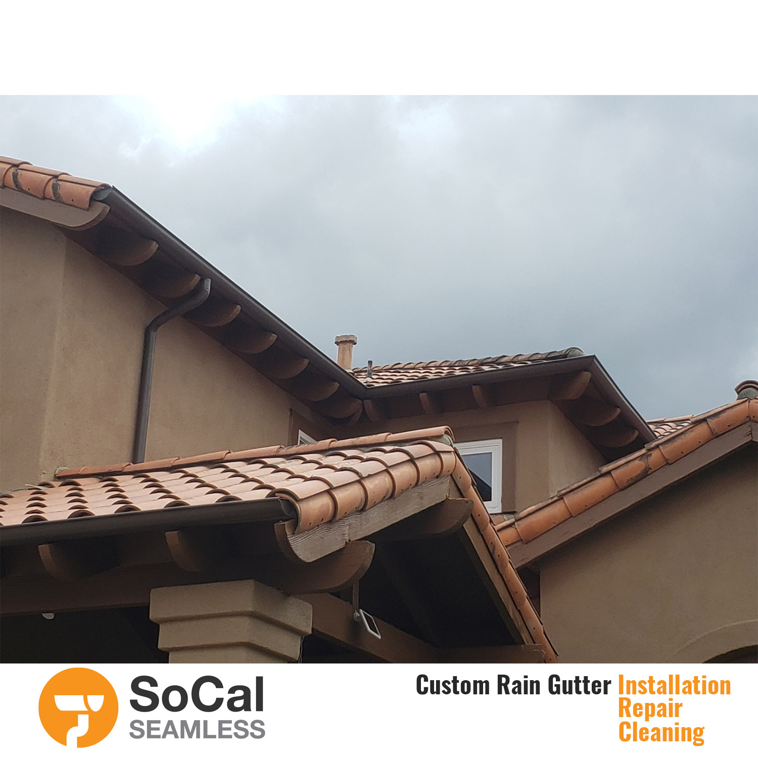 large home with half round custom brown rain gutter installation socal seamless