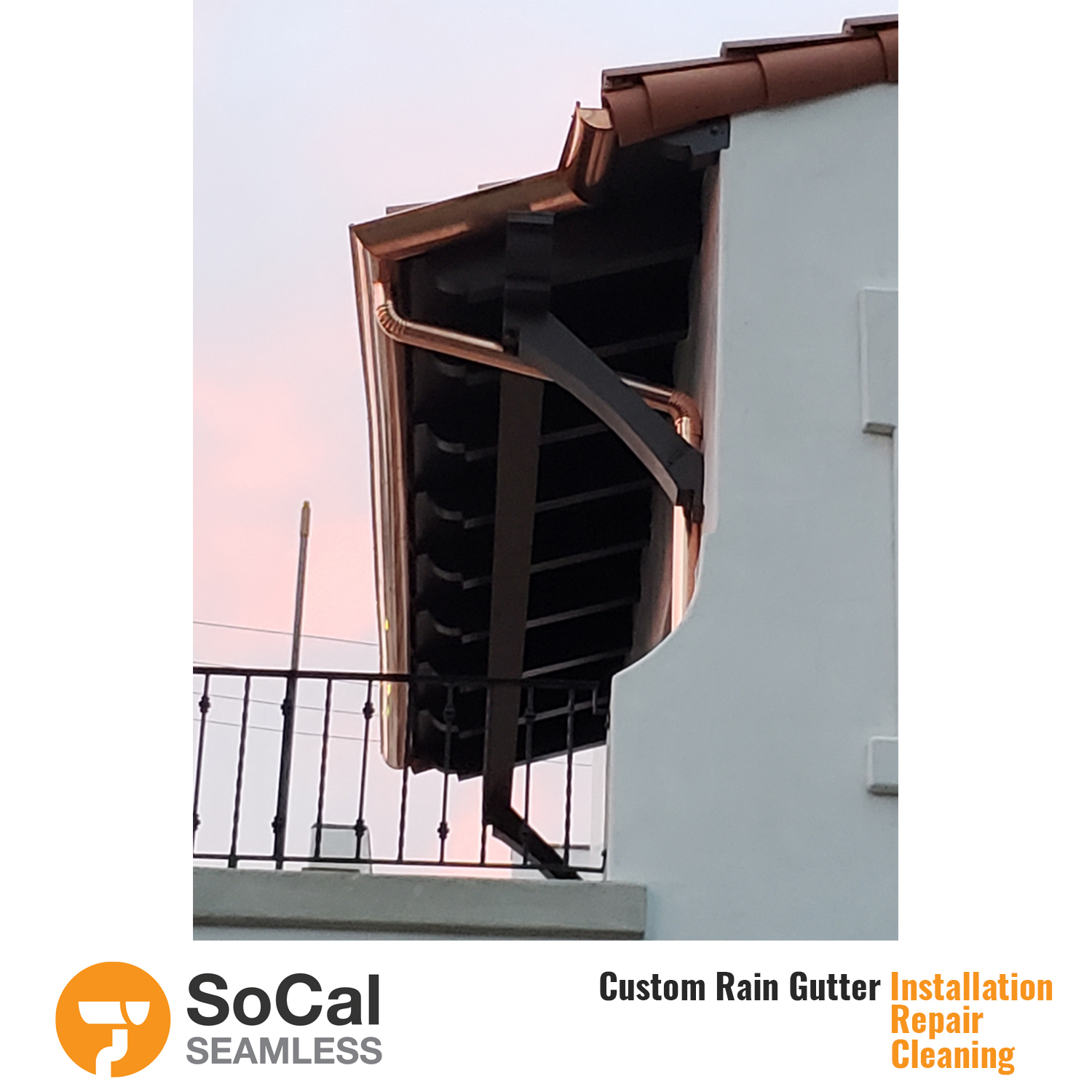 quality half round copper rain gutter installation socal seamless