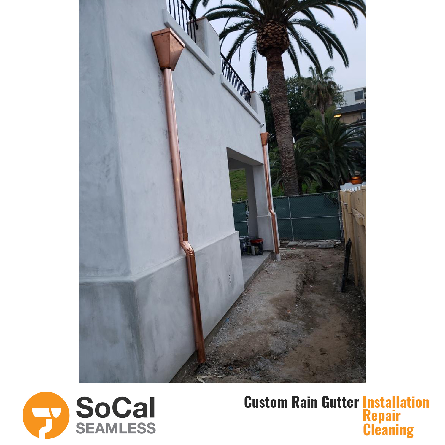 copper half round rain gutter downspout installed by socal seamless