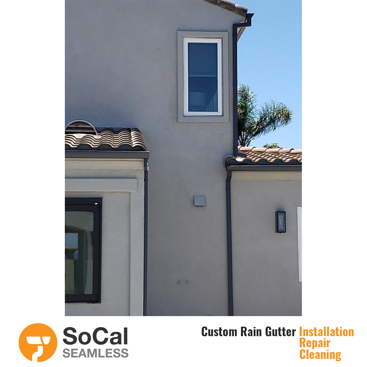two story home with half round black rain gutter installation socal seamless