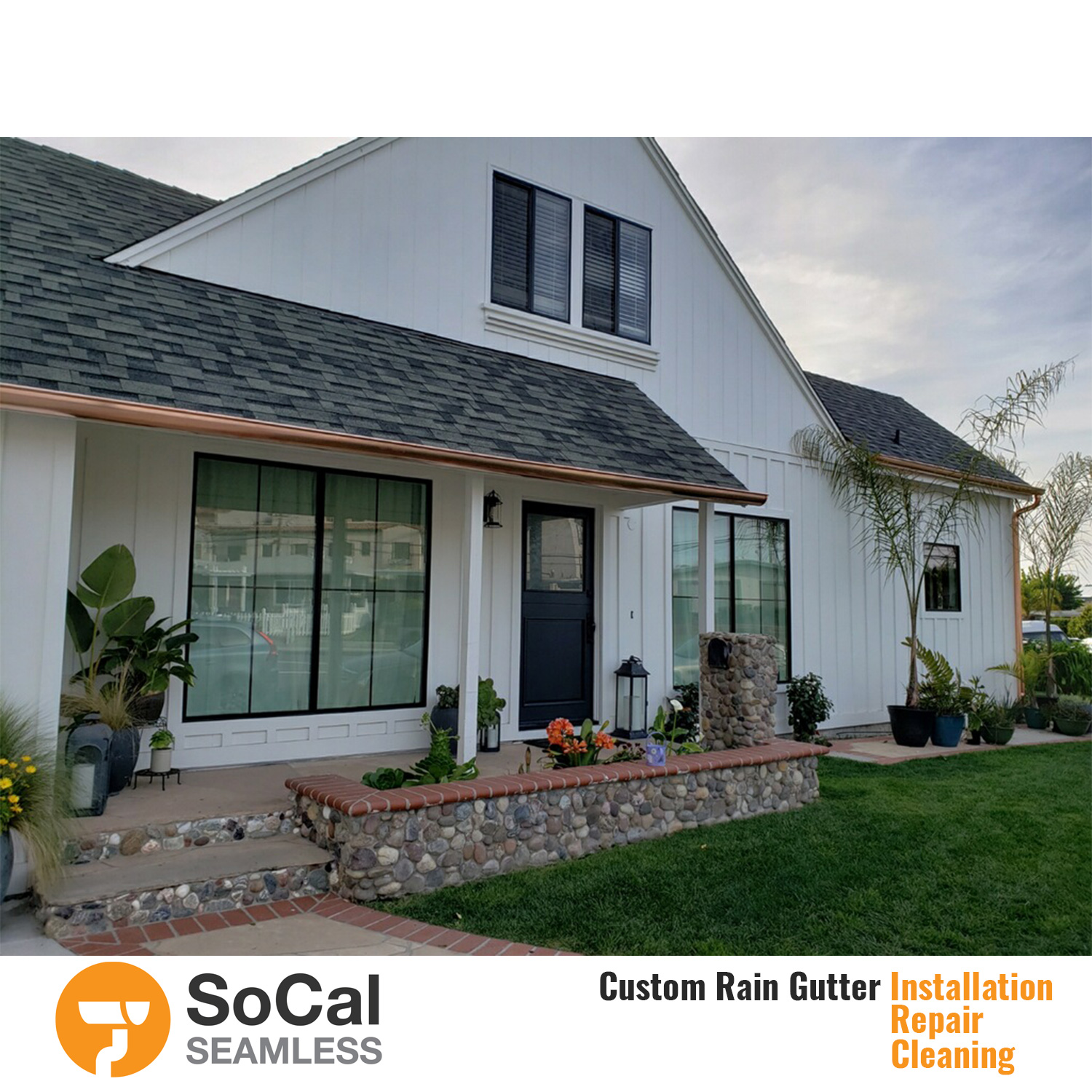 Copper rain gutters on a gorgeous home in san clemente.