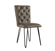 IKALIS Brown Studded Back Chair with Hairpin Legs