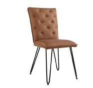 IKALIS Tan Studded Back Chair with Hairpin Legs