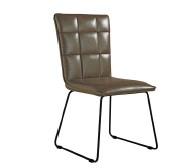 IKALIS Brown Panel Back Chair with Angular Legs