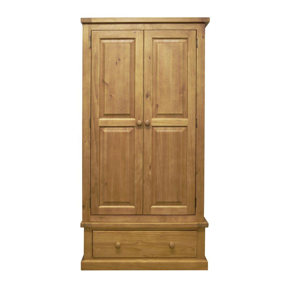 CHUNKY PINE 2 Door + 1 Drawer Wardrobe