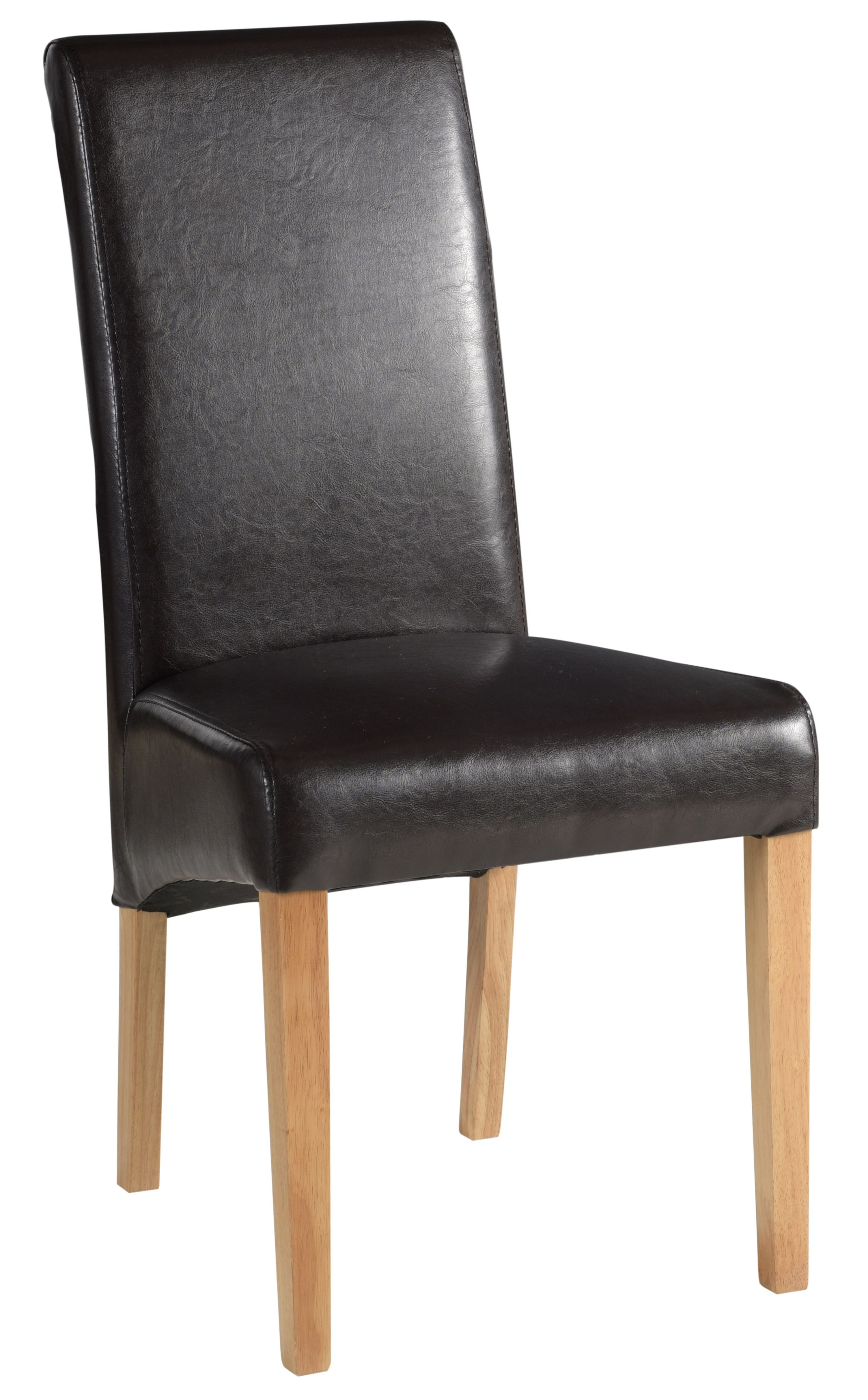 BEVERLEY OAK Brown Faux Leather Dining Chair