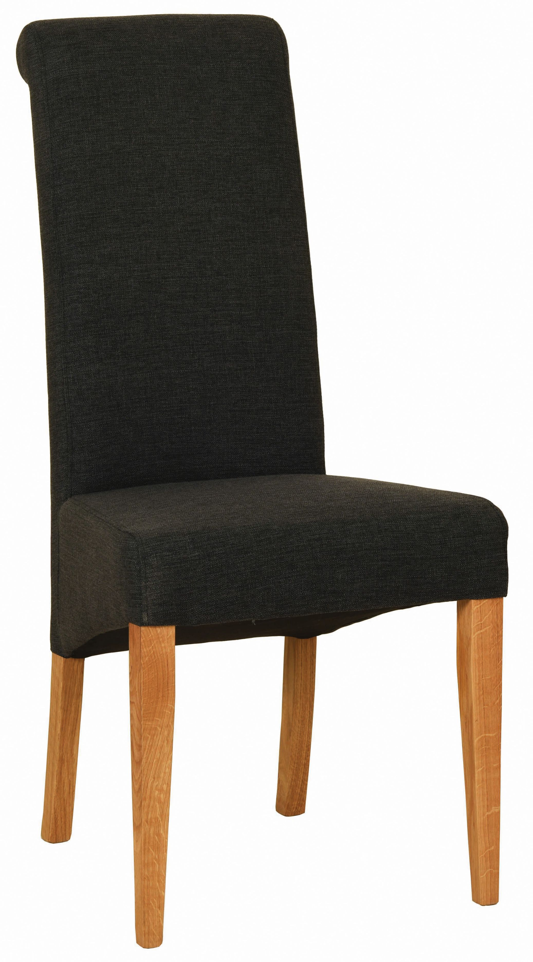 BEVERLEY OAK Charcoal Fabric Dining Chair